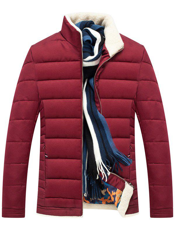 Stand Collar Zip Up Quilted JacketMEN<br><br>Size: 2XL; Color: WINE RED; Clothes Type: Padded; Style: Casual; Material: Polyester; Collar: Stand Collar; Shirt Length: Regular; Sleeve Length: Long Sleeves; Season: Winter; Closure Type: Zipper; Crafts: Sewing; Occasion: Casual,Going Out; Weight: 0.8600kg; Package Contents: 1 x Jacket;