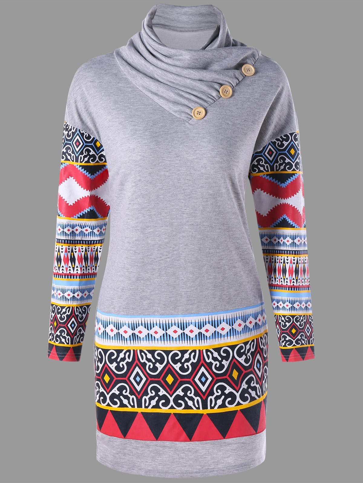 Plus Size Ethnic Print Heap Collar Long Sleeve DressWOMEN<br><br>Size: 5XL; Color: GRAY; Style: Casual; Material: Polyester,Spandex; Silhouette: Bodycon; Dresses Length: Mini; Neckline: Heaps Collar; Sleeve Length: Long Sleeves; Pattern Type: Tribal Print; With Belt: No; Season: Fall,Spring; Weight: 0.5070kg; Package Contents: 1 x Dress;