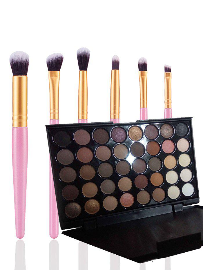 40 Colors Eyeshadow Palette with Makeup Brushes SetBEAUTY<br><br>Color: BROWN; Category: Makeup Brushes Set; Brush Hair Material: Synthetic Hair; Features: Eco-friendly; Season: Fall,Spring,Summer,Winter; Weight: 0.3000kg; Package Contents: 1 x Eyeshadow Palette 6 x Brushes (Pcs);