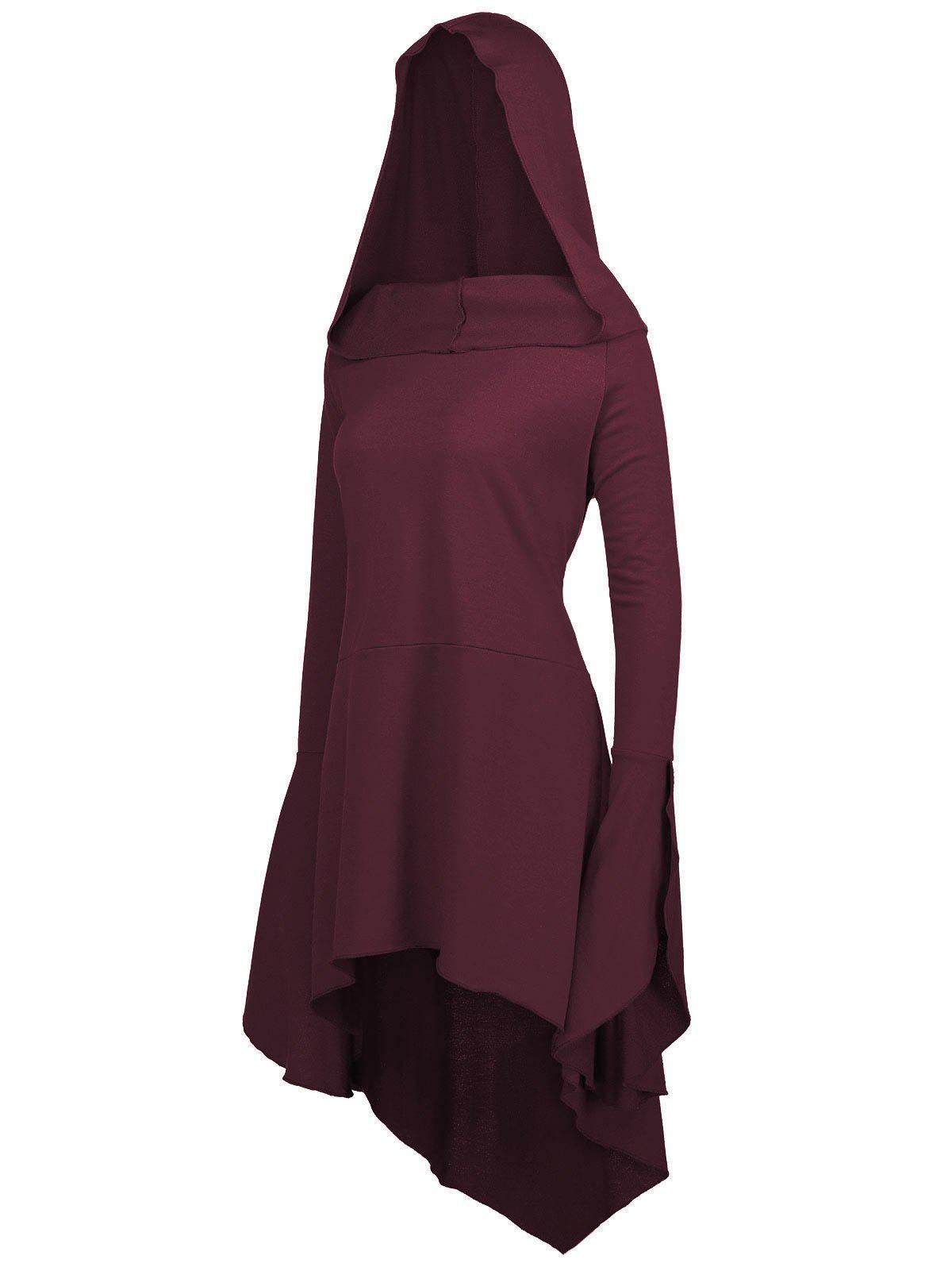 Flare Sleeve Long Plus Size High Low HoodieWOMEN<br><br>Size: 4XL; Color: BORDEAUX; Material: Polyester,Spandex; Shirt Length: Long; Sleeve Length: Full; Style: Fashion; Pattern Style: Solid; Season: Fall,Spring; Weight: 0.7100kg; Package Contents: 1 x Hoodie;