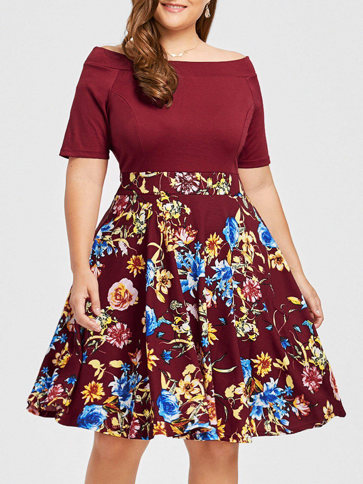 Plus Size Floral Print Boat Neck DressWOMEN<br><br>Size: 4XL; Color: WINE RED; Style: Casual; Material: Cotton,Polyester; Silhouette: A-Line; Dresses Length: Knee-Length; Neckline: Boat Neck; Sleeve Length: Short Sleeves; Pattern Type: Floral; With Belt: No; Season: Fall,Spring,Summer; Weight: 0.4750kg; Package Contents: 1 x Dress;