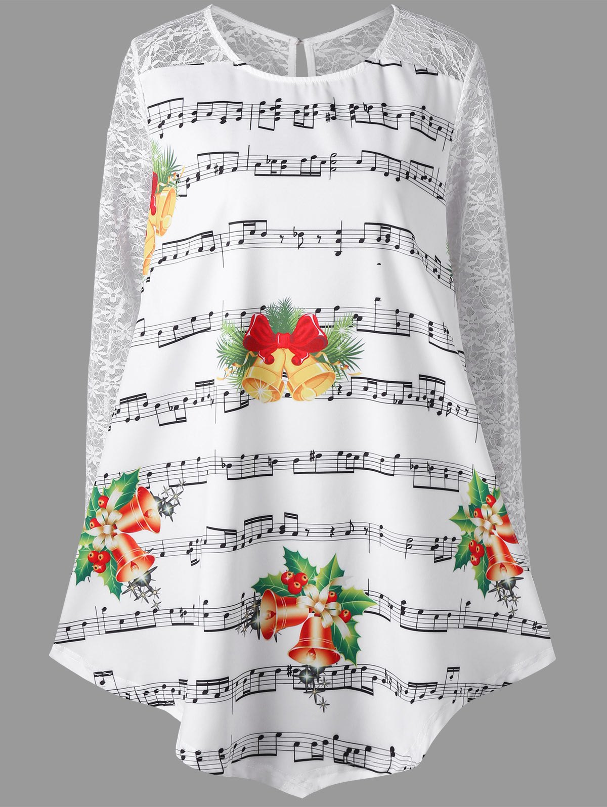Christmas Plus Size Lace Insert Music Note Print BlouseWOMEN<br><br>Size: 5XL; Color: WHITE; Material: Polyester; Shirt Length: Regular; Sleeve Length: Full; Collar: Round Neck; Style: Fashion; Season: Fall,Spring; Embellishment: Lace; Pattern Type: Print; Weight: 0.2100kg; Package Contents: 1 x Blouse;