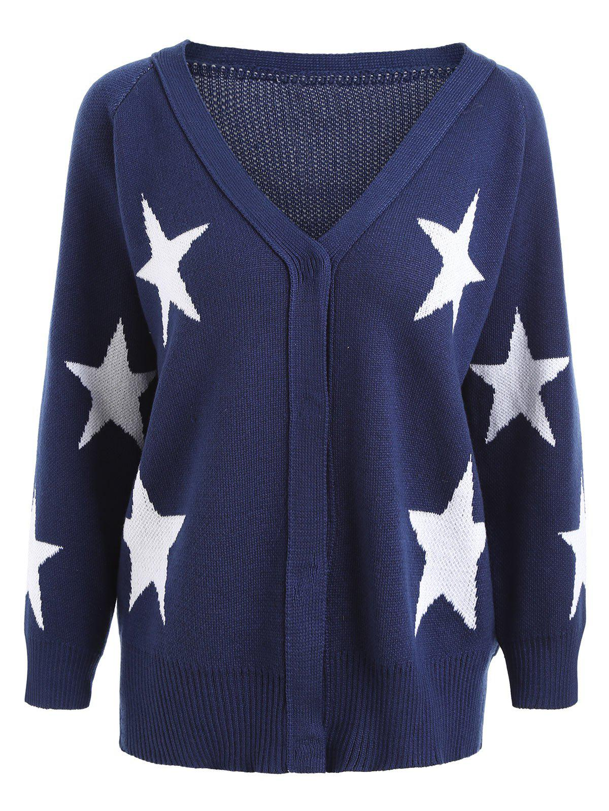 Hot Button Stars Plus Size V Neck Cardigan