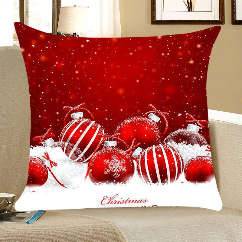 Christmas Snow Balls Printed Square Throw Pillow CaseHOME<br><br>Size: W18 INCH * L18 INCH; Color: RED AND WHITE; Material: Linen; Fabric Type: Linen; Pattern: Printed; Style: Festival; Shape: Square; Weight: 0.0700kg; Package Contents: 1 x Pillow Case;