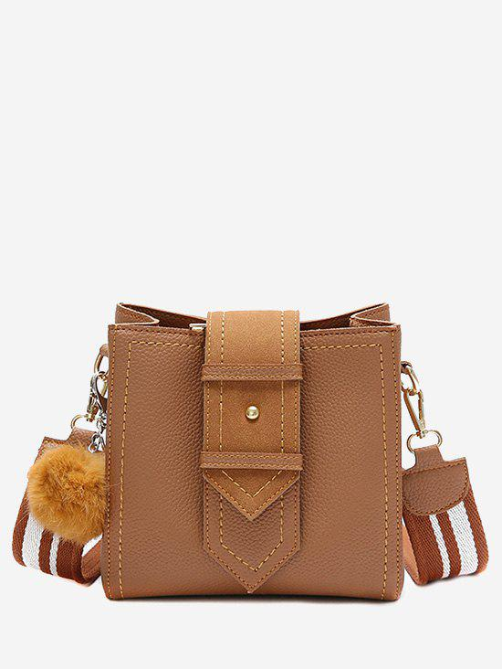 Outfits Pompom Stitching Buckle Strap Crossbody Bag