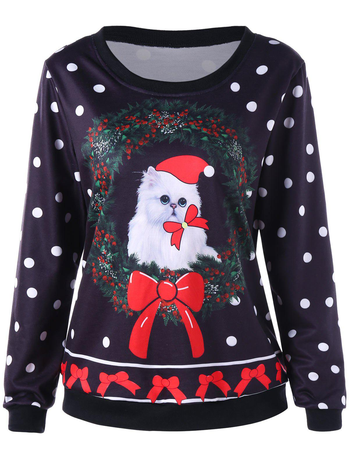Christmas Cat and Polka Dot SweatshirtWOMEN<br><br>Size: M; Color: BLACK; Material: Polyester; Shirt Length: Regular; Sleeve Length: Full; Style: Casual; Pattern Style: Animal,Bowknot,Polka Dot; Season: Fall,Spring; Weight: 0.3630kg; Package Contents: 1 x Sweatshirt;