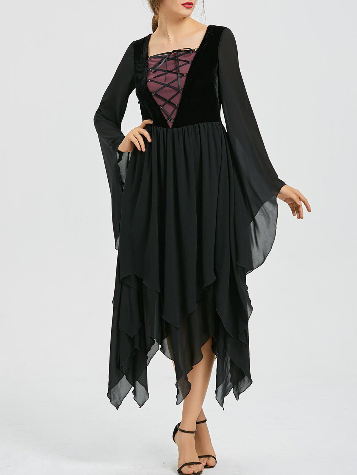 Outfits Asymmetric Flare Sleeve Lace-up Chiffon Dress