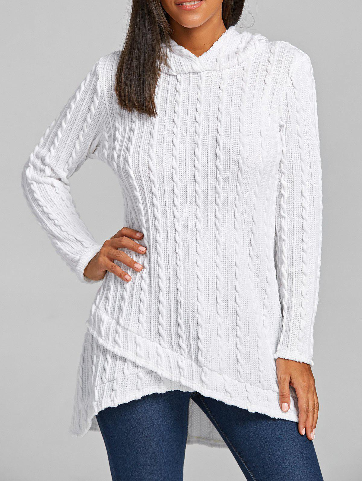 Cable Knitted Hooded Tunic SweaterWOMEN<br><br>Size: 2XL; Color: WHITE; Type: Pullovers; Material: Cotton,Polyester; Sleeve Length: Full; Collar: Hooded; Style: Fashion; Pattern Type: Solid; Season: Fall,Spring; Weight: 0.6240kg; Package Contents: 1 x Sweater;