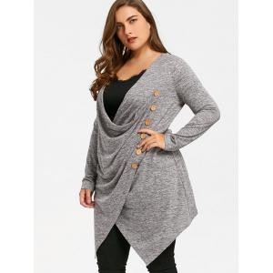 Plus Size Crossover Marled Longline Top -