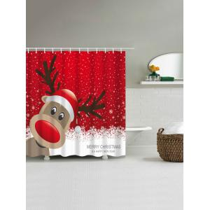 Waterproof Christmas Elk Bathroom Cartoon Curtain -