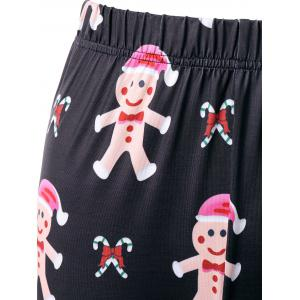 Christmas Ginger Man Print Leggings - BLACK M
