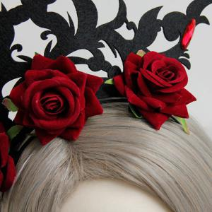 Faux Ruby Rose Flower Gothic Hairband -