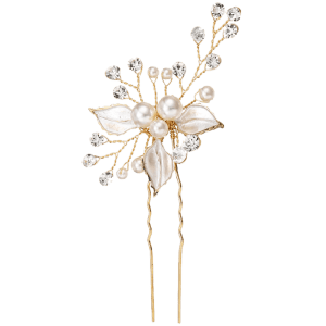 Faux Pearl Rhinestone Wedding Leaf Hairpin -