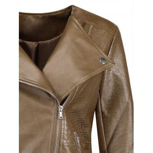 Plus Size Inclined Zipper Faux Leather Biker Jacket -