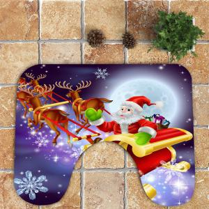 3Pcs Santa Claus Elk Sled Pattern Toilet Bath Rug Set -