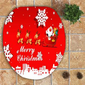 3Pcs Snowflakes Christmas Sled Patterned Bath Toilet Mat Set -
