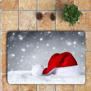 Snow Christmas Hat Patterned 3Pcs Bath Toilet Mat Set -