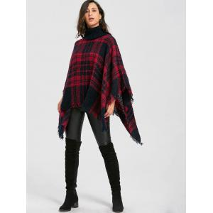 Turtleneck Batwing Sleeve Plaid Handkerchief Poncho Sweater -