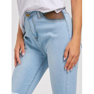 Distressed Fishnet Insert High Waist Jeans -