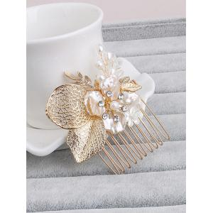 Faux Pearl Wedding Flower Leaf Hair Comb -