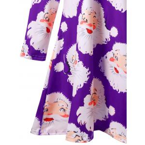 Santa Claus Print Mini Plus Size Swing Skater Dress -