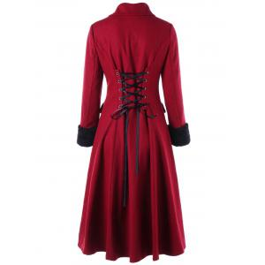Double Breasted Lace Up Capelet Dress Coat -
