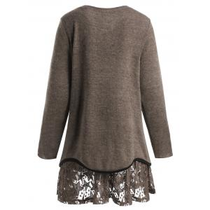 Plus Size Overlay Star Lace Knitwear -