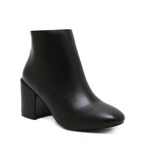 Block Heel PU Bottines en cuir -