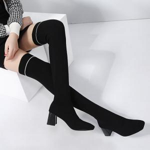 Square Toe Elastic Slip On Over the Knee Boots -