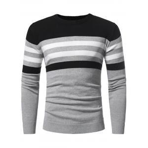 Color Block Stripe Panel Knitted Sweater -