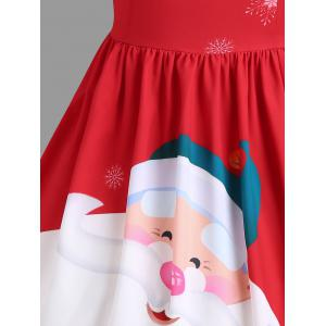 Christmas Santa Claus Print Lace Insert Party Dress -