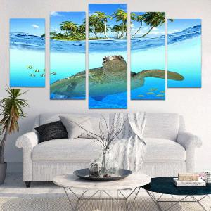 Sea Turtle Seascape Unframed Split Canvas Paintings -