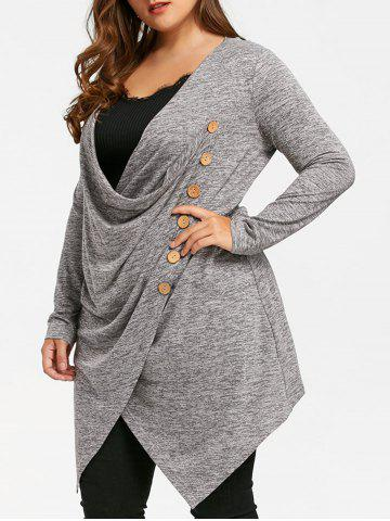 Shops Plus Size Crossover Marled Longline Top