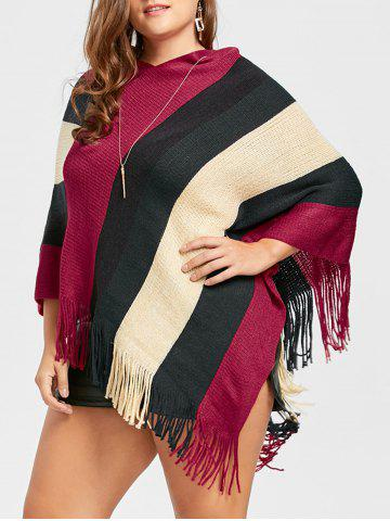 Cheap Asymmetric Striped Plus Size Fringe Cape Sweater