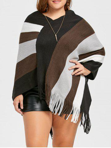 Outfit Asymmetric Striped Plus Size Fringe Cape Sweater