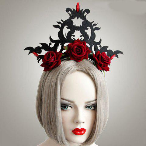 Trendy Faux Ruby Rose Flower Gothic Hairband