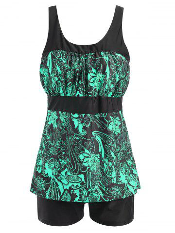 Outfit Padded Floral Print Plus Size Tankini Set