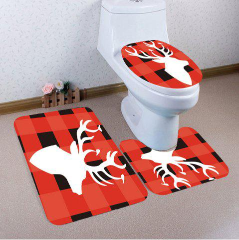 Chic 3Pcs Grid And Elk Pattern Toilet Bath Mat Set