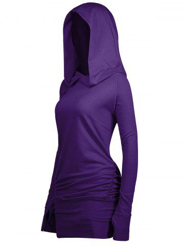 New Long Plus Size Sides Ruched Hoodie