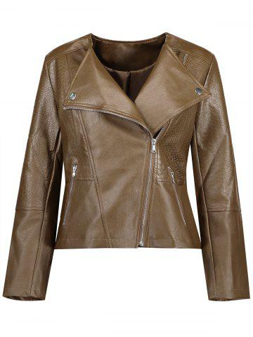 Unique Plus Size Inclined Zipper Faux Leather Biker Jacket