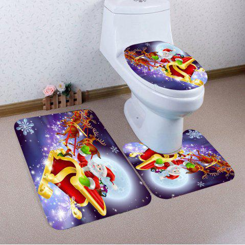 Fashion 3Pcs Santa Claus Elk Sled Pattern Toilet Bath Rug Set