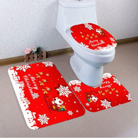 Fancy 3Pcs Snowflakes Christmas Sled Patterned Bath Toilet Mat Set
