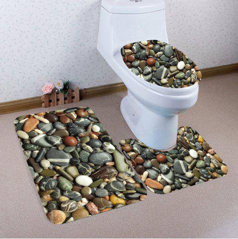 Cobblestones Imprimé 3Pcs Bath Toilet Mat Set