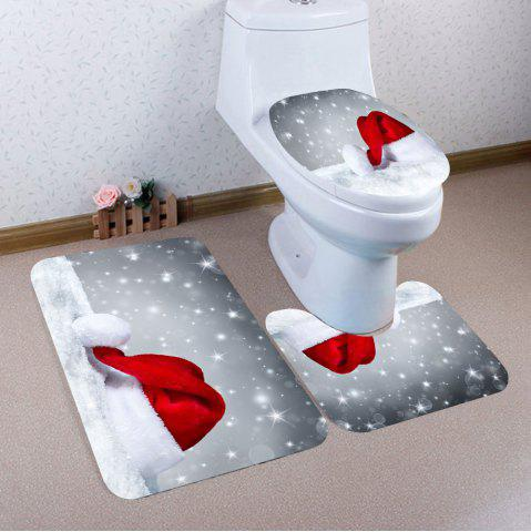 Latest Snow Christmas Hat Patterned 3Pcs Bath Toilet Mat Set