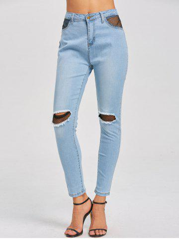 New Distressed Fishnet Insert High Waist Jeans