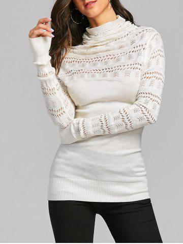 Discount Cowl Neck Open Knitted Jumper Sweater