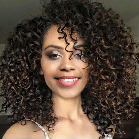 Hot Medium Side Bang Colormix Fluffy Afro Curly Synthetic Wig