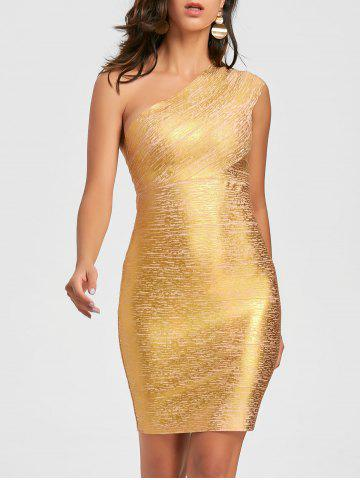 Discount One Shoulder Metallic Bandage Dress