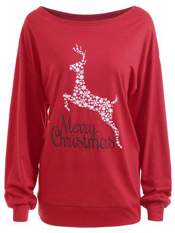 Best Plus Size Merry Christmas Deer Graphic T-shirt