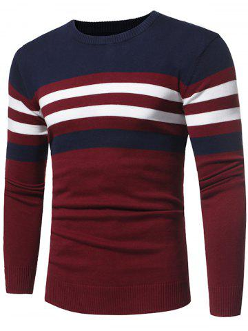 Affordable Color Block Stripe Panel Knitted Sweater